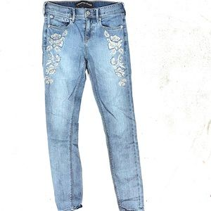 Express Floral Embroidered Skinny Legging Jeans